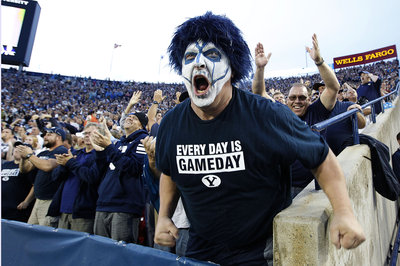 One Utah Valley guilty pleasure is enjoying a BYU football game when you should be doing something else. Photo by George Frey/Getty Images)