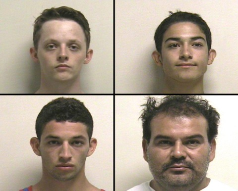 The AM Bank robbers clockwise from top left are Braydon Madsen (19), Nicolas Vera (21), Luis Vera (19) and (Photo courtesy Utah County Jail)