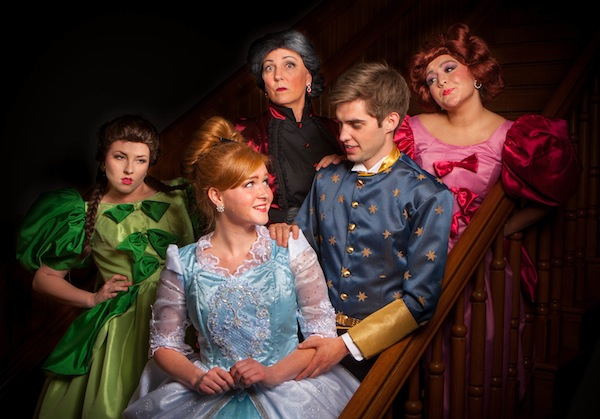 Jaymie Lambson is Cinderella (blue dress); Kathryn Little is the Stepmother (black and burgundy dress); McKelle Shaw (pink dress) and Alana Jeffrey (green dress); and Parker Harmon is The Prince.  (Photo by Pete Widfeldt)