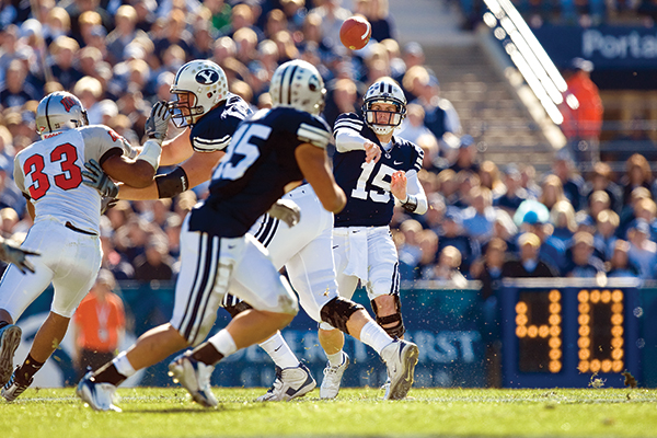 Max Hall played quarterback for BYU from 2006-2009. (Photo courtesy BYU Photo)