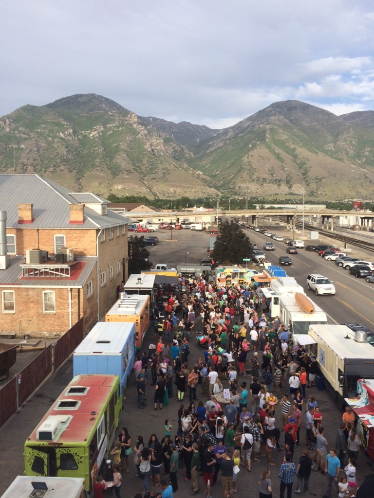 Food trucks gather in Provo on Thursday, May 29. (Photo by Courtney Taylor)