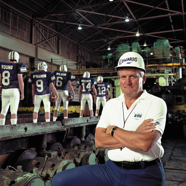 """The Quarterback Factory"" is a famous BYU photo from the 1980s featuring BYU head football coach LaVell Edwards. (Photo courtesy BYU)"