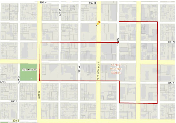The restricted areas for food trucks in downtown Provo is outlined in this map. (Photo courtesy Provo city)