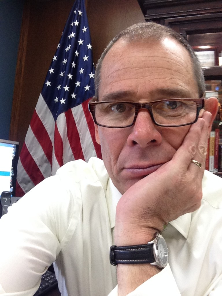 When taking indoor selfies, Deakins says to head towards the nearest window for natural light. Here, Provo mayor John Curtis takes a break from some serious business in his downtown Provo office to snap a selfie for us. Thanks Mayor!