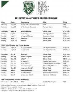 UVU soccer schedule for the 2014 men's inaugural season.