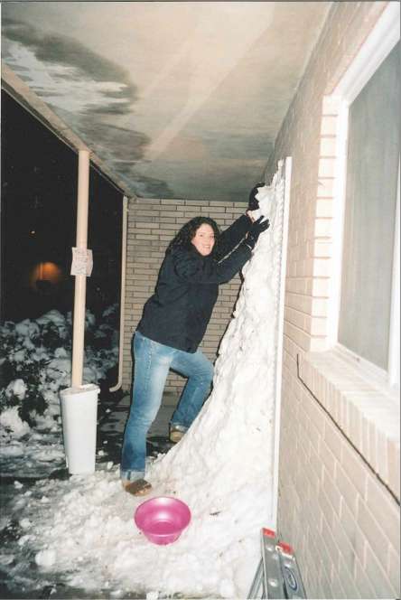 Christa Woodall helped her roommates build a snow wall over her FHE brothers' door while studying at BYU.  (Photo courtesy Christa Woodall)