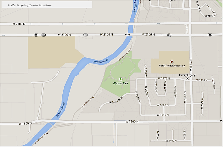 Soccer practices at Olympic Park are causing problems in a Lehi neighborhood. (Photo courtesy Google Maps)