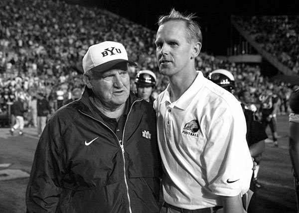 Tom Holmoe played for LaVell Edwards at BYU and later played against him as coach  of the Cal Bears.