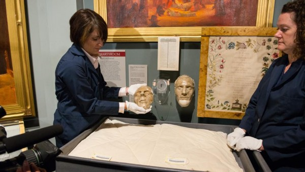The death masks of Joseph and Hyrum Smith will be on display for another week, until the museum renovation begins Oct. 6. (Photo courtesy Mormon Newsroom.)