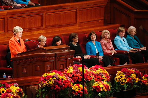 General Primary President Rosemary M. Wixom, conducted the Sept. 27, 2014, General Women's Meeting. Photo courtesy LDS Church.