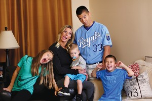 Jeremy Guthrie's favorite team is at home plate. He and his wife, Jenny, are raising Avery, Hudson and Dash in Pleasant Grove and Kansas City. Jeremy attended BYU for one year before an LDS mission and a transfer to Stanford. (Photo by Kenneth Linge.)
