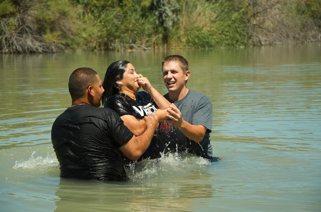 Pastor Nathaniel Wall of Alpine Bible Church participates in a series of recent baptisms in Utah's Jordan River.