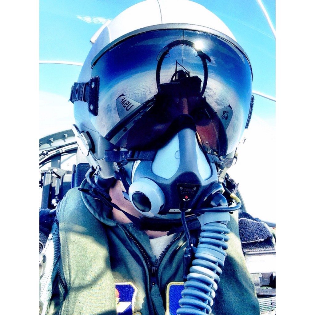 One year ago, 25-year-old Kyle Petitt was working for BYU Broadcasting and cheering as a member of BYU's cheer squad. Now, he's learning to fly fighter jets as an officer in the United States Air Force. Here, he snaps a selfie mid-flight, 20,000 feet in the air.