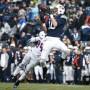 Senior wide receiver Mitch Mathews (10) hauls in his first touchdown catch of BYU's 63-0 win over Savannah State on Saturday, Nov. 22. (BYU Photo)