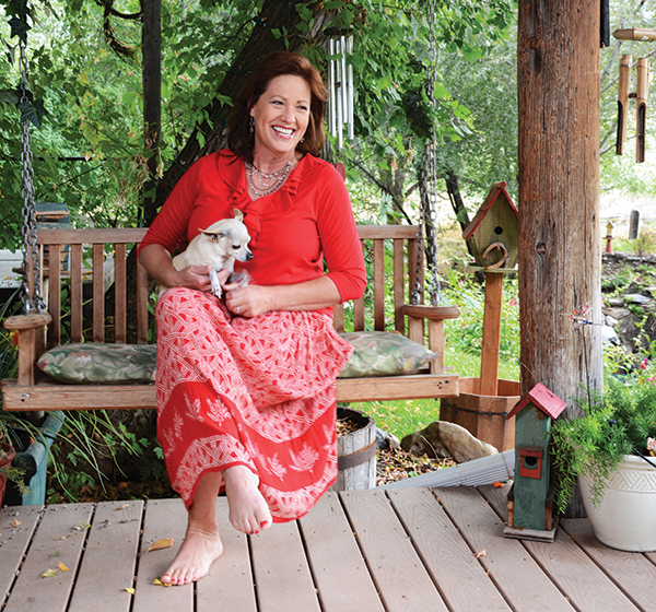 """One of Colleen Bozung's favorite things about her Alpine home is the creek running through the backyard. """"I also love that I can hear the city building bell ringing every half hour from my house,"""" Colleen says. """"My grandkids love it."""""""