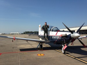 "The T-6 Texan (pictured) is the first military plane Kyle Petitt flew. ""When I got into this program, I knew nothing about aviation,"" Petitt said. ""I knew planes flew and that some magical thing called lift got them off the ground. When I came out here I gained so much respect for pilots because it's a constant puzzle in the sky."""