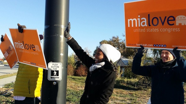 Mia Love participates in a Honk and Wave in South Jordan on Election Day. Love beat out (Photo courtesy Facebook)