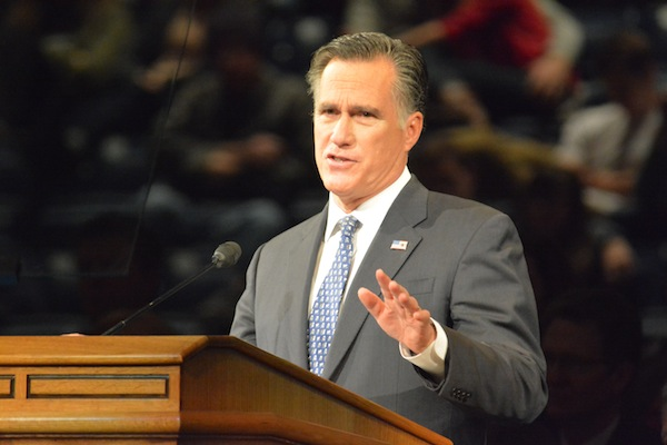 Former Republican Presidential Candidate Mitt Romney addresses BYU students in a campus devotional on Tuesday morning. (Photo by Matt Bennett)