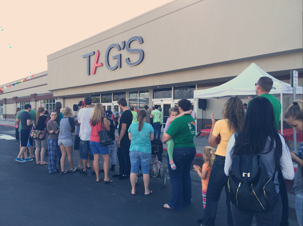 Customers line up outside of TAG's during the September opening. (Photo courtesy TAG's)