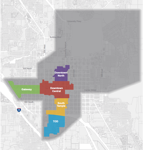 The Provo Parking Management Plan shows a map of the areas of concern in downtown Provo. (Courtesy Vision Provo)