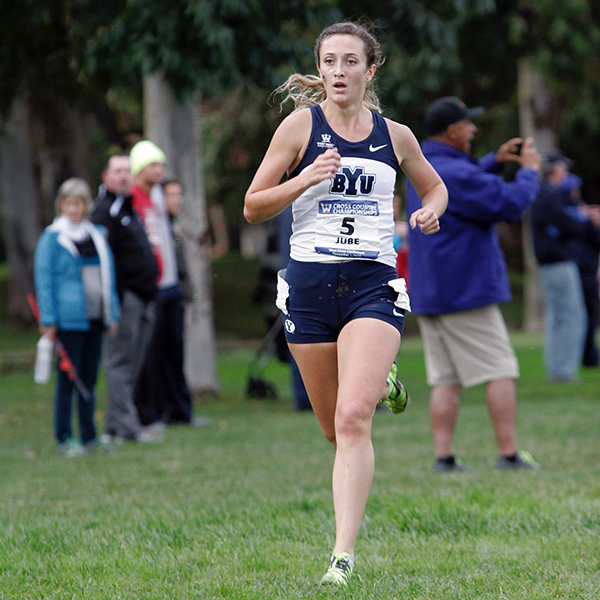 Carrie Jube, a BYU junior cross country runner from Timpview, finished second overall at the WCC Championship. (Photo courtesy BYU Photo)