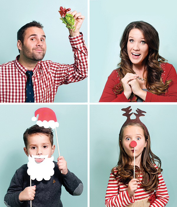 """Mckenzie Deakins won our photo contest with her Christmas card from last year. """"I saw the Santa beard and Rudolph photo booth props on Pinterest and decided to make some of my own. Maybe you didn't notice at first, but my boy, Harrison, is sticking his tongue out of the Santa beard. That's the downfall of being the parent and photographer — no respect!"""""""