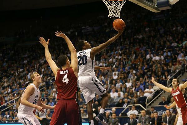 BYU guard Anson Winder drives to the hope for a layup against Stanford at the Marriott Center on Dec. 20. (Dan Haslam/Twitter)