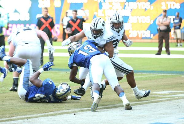 BYU running back Paul Lasike rushes the ball in for a touchdown against Memphis in the Miami Beach Bowl. (BYU Photo)