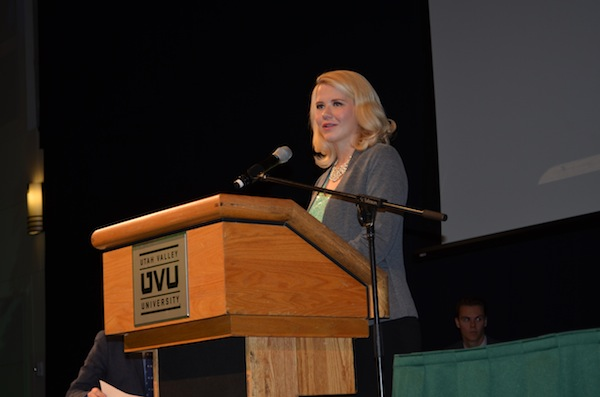 Elizabeth Smart speaks to UVU students and faculty at UVU on Wednesday afternoon. (Photo by Brianna Bailey)