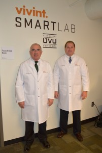 Executive Director Paul Dishman and SMARTLab Director Dale Jolley run the new UVU research marketing lab. (Photo by Rebecca Lane)