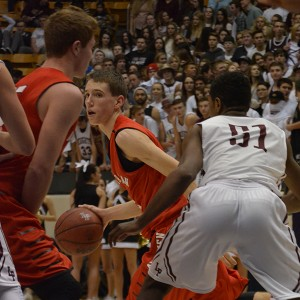 Junior Spencer Johnson scored 33 points to lead the American Fork Cavemen to a thrilling, double overtime victory over the Lone Peak Knights Friday night at the Marriott Center. (Photo by Rebecca Lane)