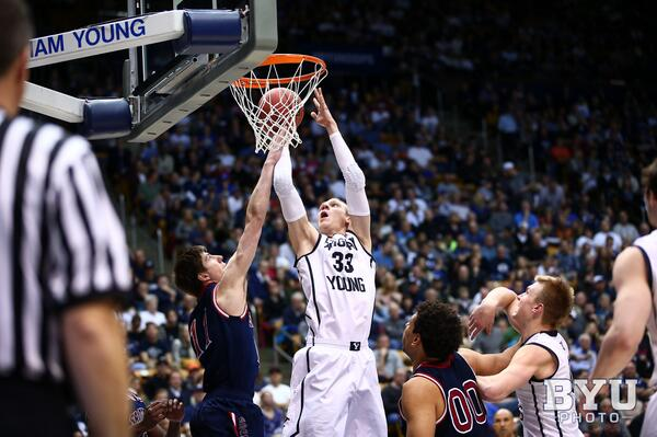 Senior forward Nate Austin dunks in the Cougars' win over Saint Mary's last season on Feb. 1 in the Marriott Center. (Twitter/BYU Photo)