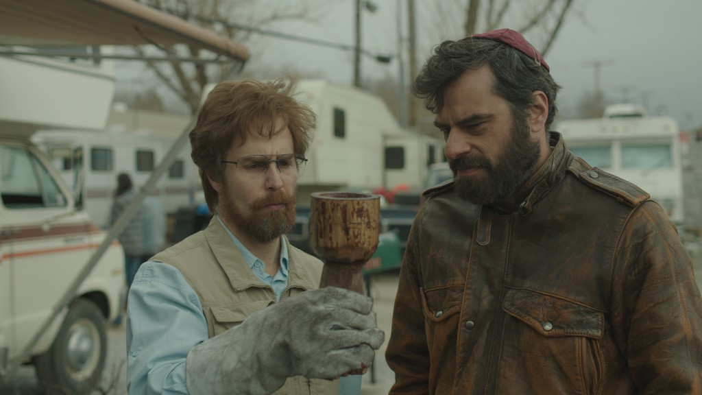 "Don Verdean (Sam Rockwell, left) and Boaz (Jemaine Clement, right) search for--and fabricate--Biblical artifacts in ""Don Verdean,"" the latest film by BYU alumni Jared and Jerusha Hess which premiered at Sundance Film Festival in Park City Wednesday. (Image courtesy of Lionsgate)"