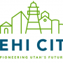The new Lehi city logo features prominent buildings in Lehi including the Hutchings Museum (far left), Water Tower at Thanksgiving Point and the Lehi Roller Mills (far right). (Photo courtesy Lehi city)