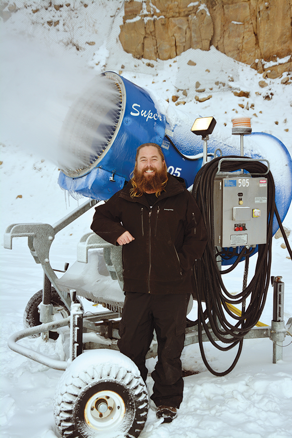 Mike Palfreyman makes the snow for Sundance Ski Resort.