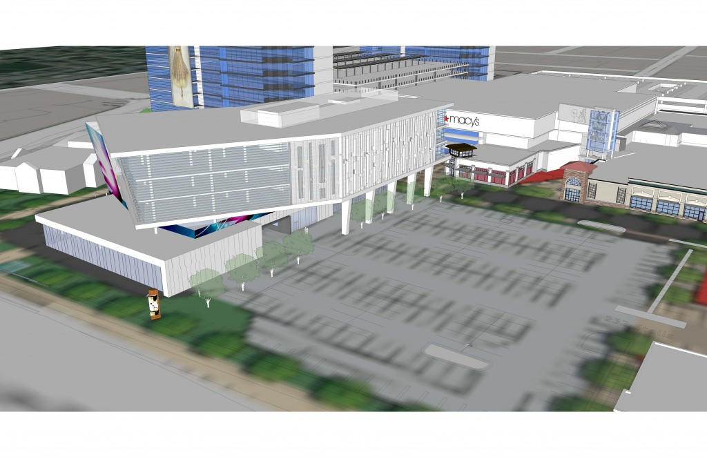 A rendering of University Mall shows what the front with the parking lot will look.