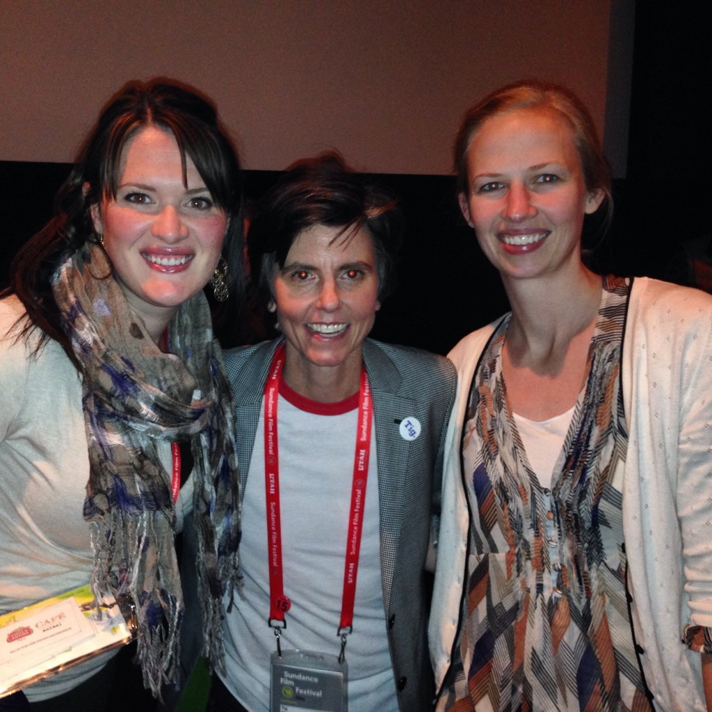 "Christa Woodall, left, and Christina Davis, right, enjoyed meeting comedienne Tig Notaro, center, at the premiere of ""Tig,"" a documentary about Notaro that played at Sundance Film Festival. (Photo courtesy of Christa Woodall)"