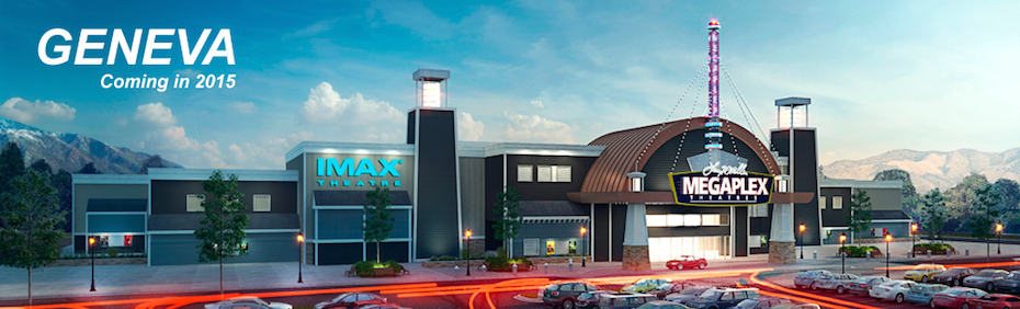 The first site at @Geneva is almost ready to open. The Megaplex Theatre will open on March  13and has the first digital IMAX screen in Utah County. (Image courtesy Megaplex Theatres)