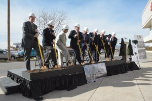 Orem officials and University Mall representatives participate in the groundbreaking ceremony for University Place on Thursday. (Photo by Rebecca Lane)