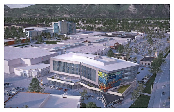 In the front of a rendering of University Place it shows the five-story business complex that will house NorthStar Alarm. (Photo courtesy University Mall)