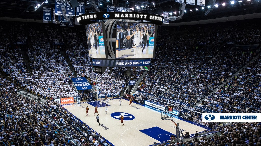 A rendering of the completed additions and renovations to the Marriott Center, which include new LED scoreboards and prime seating. (BYU Athletics)