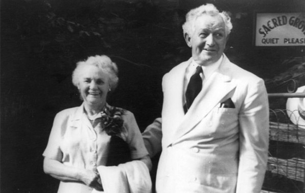 Sacred Grove, 1951 Age: 78 President and Mrs. McKay visit the Sacred Grove, August 1951. (Photographer unidentified) (Church History Library onilne)