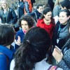 Big Ocean Founder and Provo resident Carolina Allen shares ideas with a Catholic youth group that came to share a family-based message at a gathering outside the UN.
