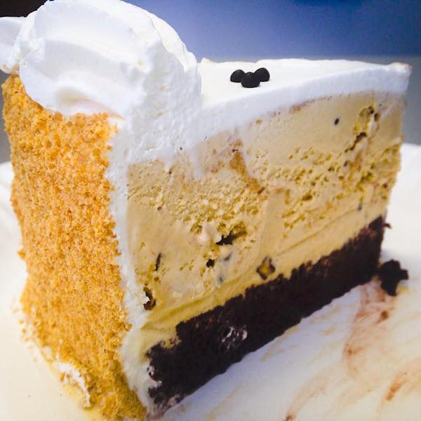 Instead of an ice cream cone, the BYU Creamery also makes ice cream cakes like this Graham Canyon Ice Cream slice of ice cream heaven. (Photo by BYU Photo)