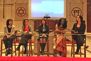 As part of the Monday night event, five women shared stories about their mothers and other ancestors. From left to right: Ann Takasaki, Japan; April Gallant, Cuba; Vilma Sagebin, Brazil; Deborah Wene, Africa; and Debora Fletcher, Guatemala.