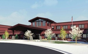 This rendering shows what the new Lehi high school will look like from the outside. (Image courtesy Alpine School District)