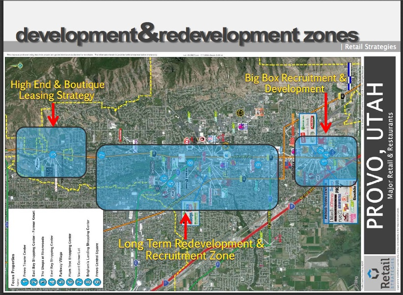 This image explains areas Provo is targeting for specific retail businesses.