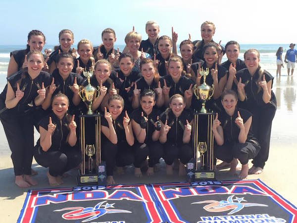 The Cougarettes pose with their trophies after winning the 2015 NDA National Championship for hip hop and (Photo courtesy Cougarettes)