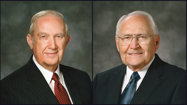 Elder Richard G. Scott (left) was hospitalize due to gastrointestinal bleeding Thursday night. Elder L. Tom Perry began radiation for cancer in the thyroid gland Friday morning. (Photo courtesy LDS Church)
