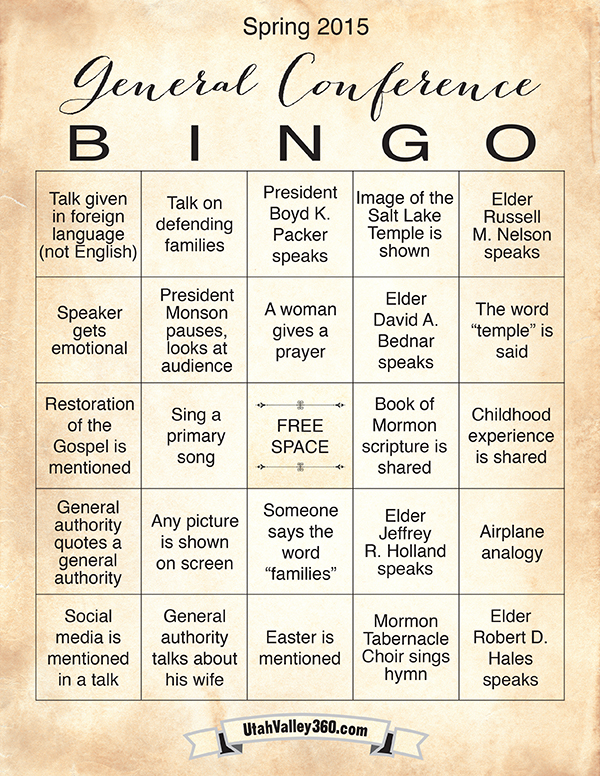 General Conference Bingo on printable bingo boards
